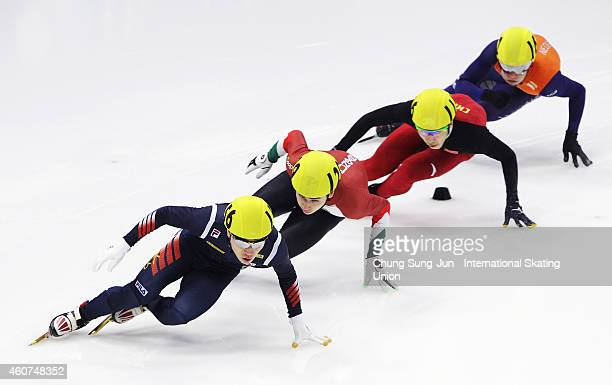 Seo YiRa of South Korea Liu Shaoang of Hungary Shi Jingnan of China and Sjinkie Knegt of Netherlands compete in the Men 500M Semifinals during the...