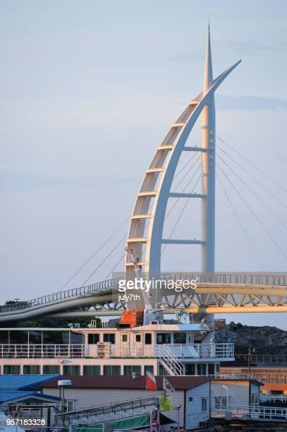 seogwipo saeyeon bridge in beautiful morning - jeju stock photos and pictures