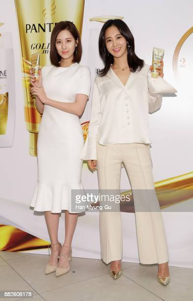 Seohyun and Kwon YuRi of South Korean girl group Girls' Generation attend the PANTENE 'Golden Miracle' Launch on November 30 2017 in Seoul South Korea