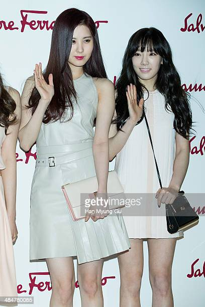 757ed4f1ea Seohyun and Taeyeon of South Korean girl group Girls  Generation attend the Salvatore  Ferragamo