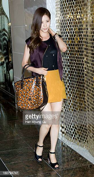 Seohyun of South Korean girl group Girls' Generation attends during the launch event of 'MCM' at Lotte Department Store on August 24 2012 in Seoul...