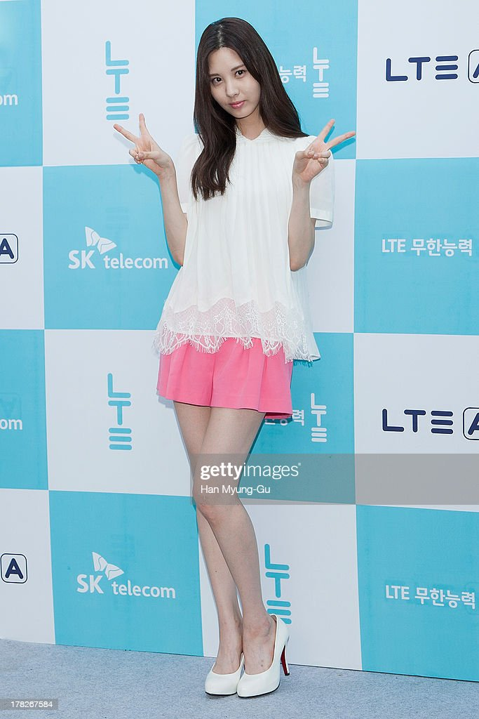 Seohyun of South Korean girl group Girls' Generation attends during the autograph session for SK Telecom on August 28, 2013 in Seoul, South Korea.