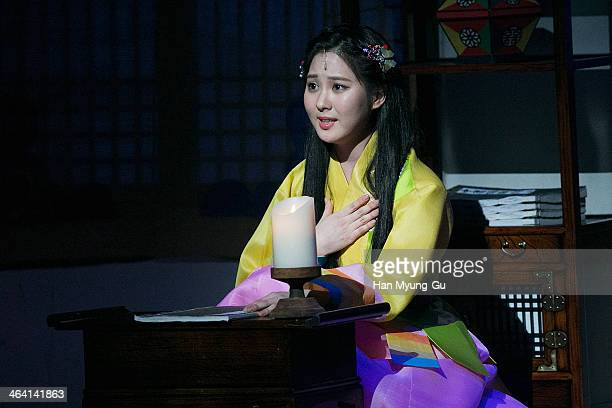 "Seohyun of South Korean girl group Girls' Generation attends the press call for musical ""Moon Embracing The Sun"" on January 20, 2014 in Seoul, South..."