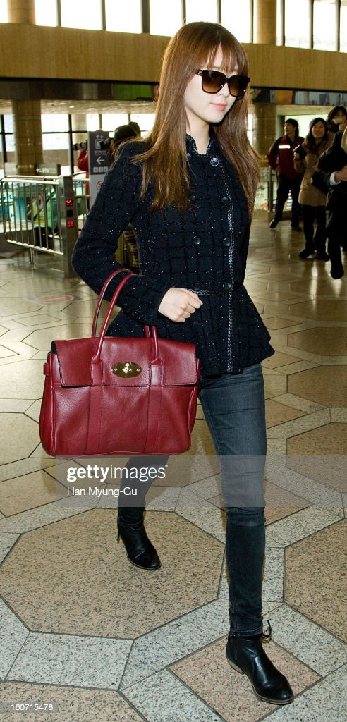 Seohyun of South Korean girl group Girls' Generation is seen at Gimpo International Airport on February 4, 2013 in Seoul, South Korea.