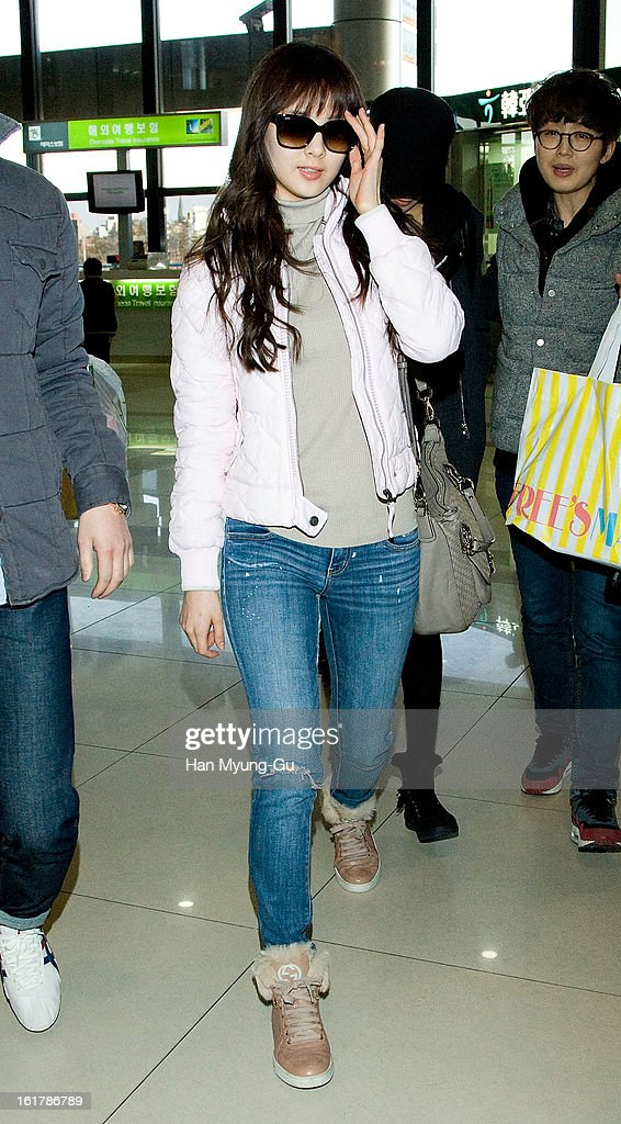 Seohyun of South Korean girl group Girls' Generation is seen at Gimpo International Airport on February 15, 2013 in Seoul, South Korea.