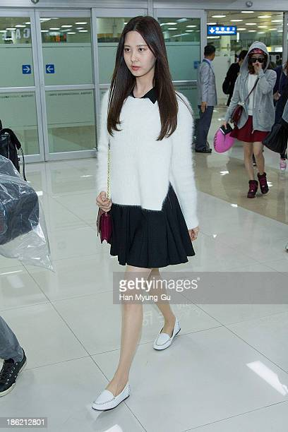 Seohyun of South Korean girl group Girls' Generation is seen upon arrival at the Gimpo Airport on October 28 2013 in Seoul South Korea
