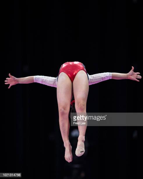 Seojeong Yeo of Korea in action on the Horizontal Bar during on the Balance Beam during the Artistic Gymnastics of the Women's Team Final at the...