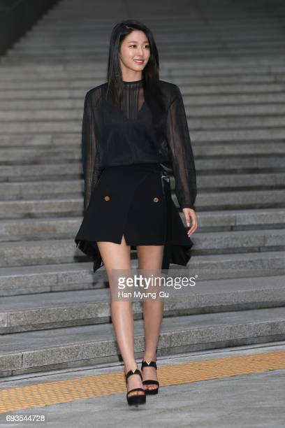 Seolhyun a member of the South Korean girl group AOA attends the photocall for Volez Voguez Voyagez Louis Vuitton Exhibition at DDP on June 7 2017 in...