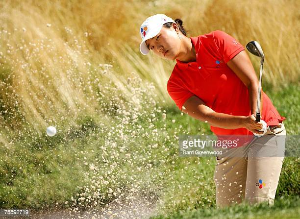 Seon Hwa Lee of Korea hits from the bunker on the 10th hole during the semifinal round of the HSBC Women's World Match Play at Wykagyl Country Club...