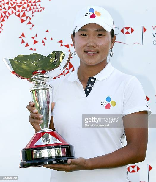 Seon Hwa Lee of Korea holds the trophy after winning the HSBC Women's World Match Play at Wykagyl Country Club on July 22 2007 in New Rochelle New...