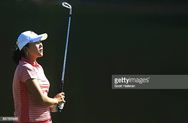 Seon Hwa Lee of South Korea hits her approach shot on the ninth hole during the first round of the ADT Championship at the Trump International Golf...