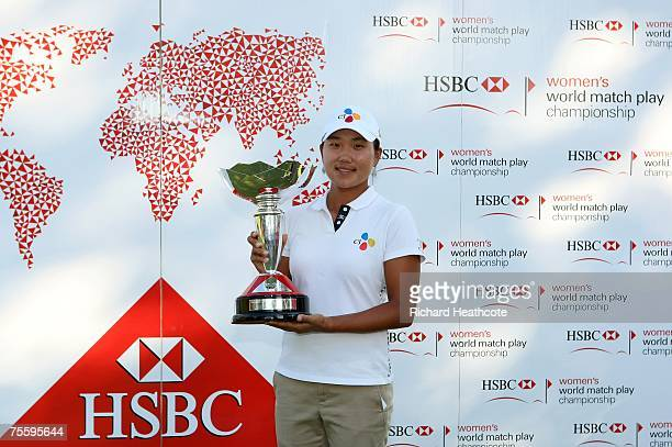 Seon Hwa Lee of South Korea poses with the trophy after winning the final of the HSBC Women's World Match Play Championship at Wykagyl Country Club...