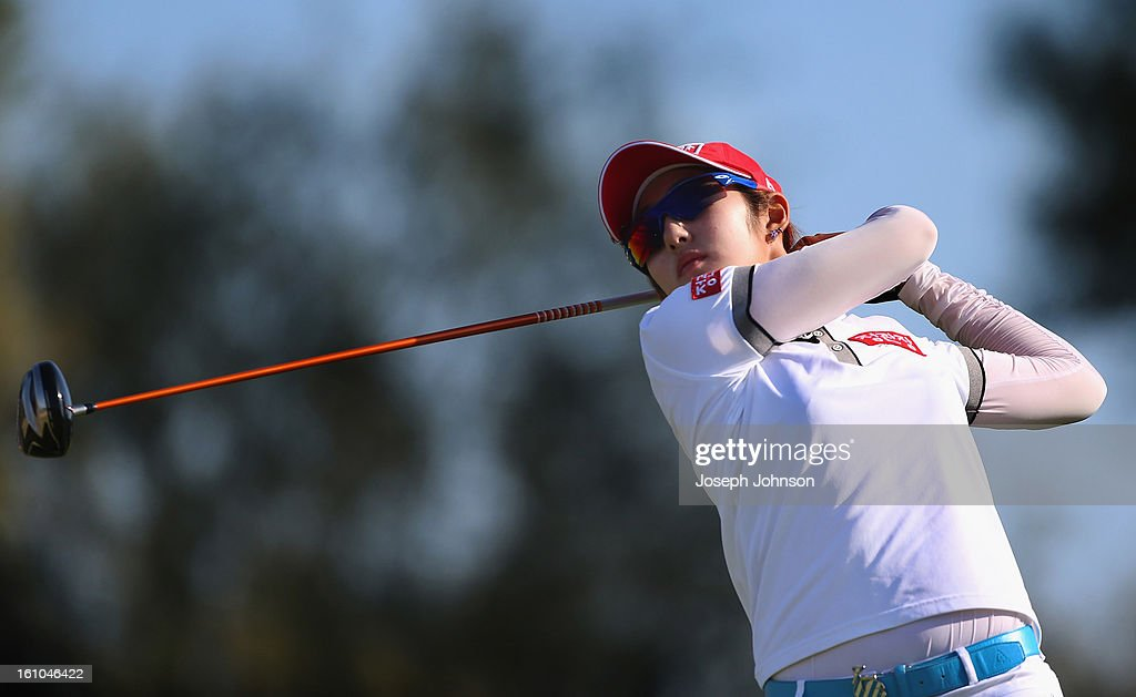 Seon Woo Bae of Korea plays a shot during day two of the New Zealand women's golf open at Clearwater Golf Course on February 9, 2013 in Christchurch, New Zealand.