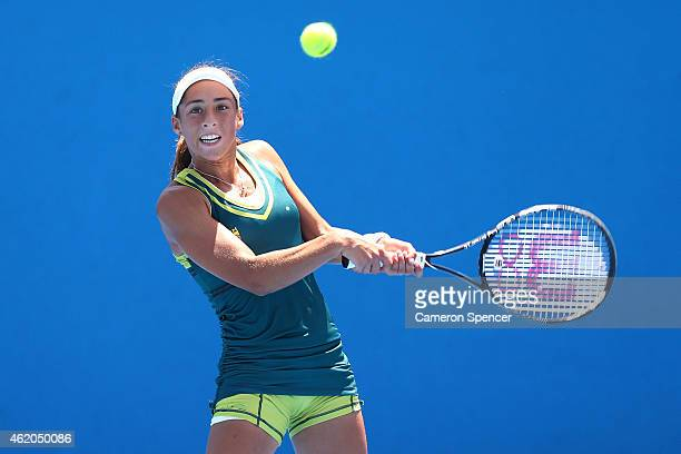 Seone Mendez of Australia plays a backhand against Grace Min of the United States during the Australian Open 2015 Junior Championships at Melbourne...