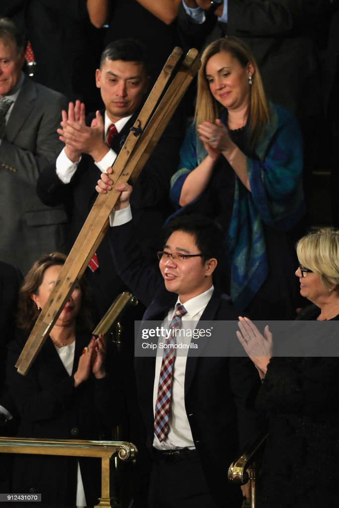 Seong-ho, a North Korean defector is acknowledged during the State of the Union address in the chamber of the U.S. House of Representatives January 30, 2018 in Washington, DC. This is the first State of the Union address given by U.S. President Donald Trump and his second joint-session address to Congress.