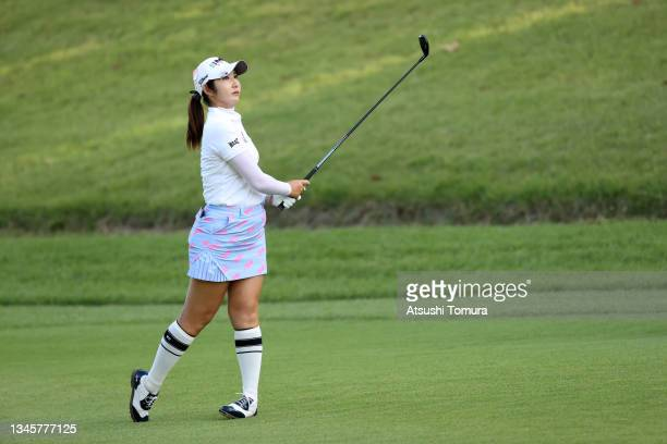 Seonwoo Bae of South Korea hits her second shot on the playoff first hole on the 18th hole during the final round of the Stanley Ladies at Tomei...