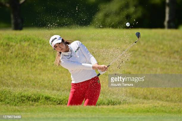 Seonwoo Bae of South Korea hits out from a bunker on the 8th hole during the final round of the Stanley Ladies Golf Tournament at the Tomei Country...