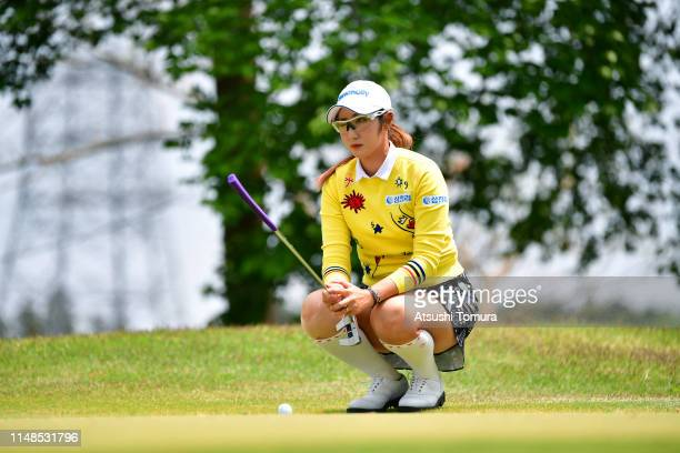 Seonwoo Bae of South Korea lines up for a putt on the 5th green during the final round of the World Ladies Championship Salonpas Cup at Ibaraki Golf...