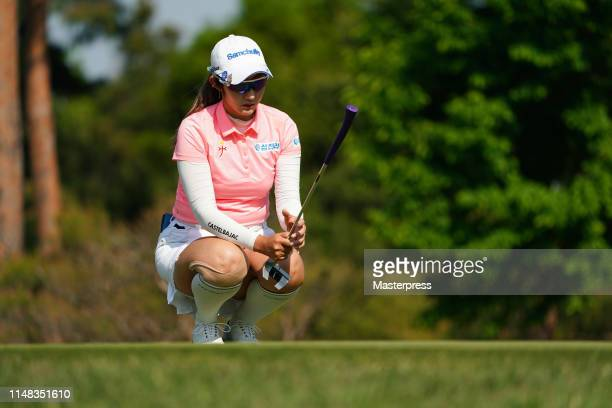 Seonwoo Bae of South Korea lines up for the birdie putt on the 12th green during the third round of the World Ladies Championship Salonpas Cup at...