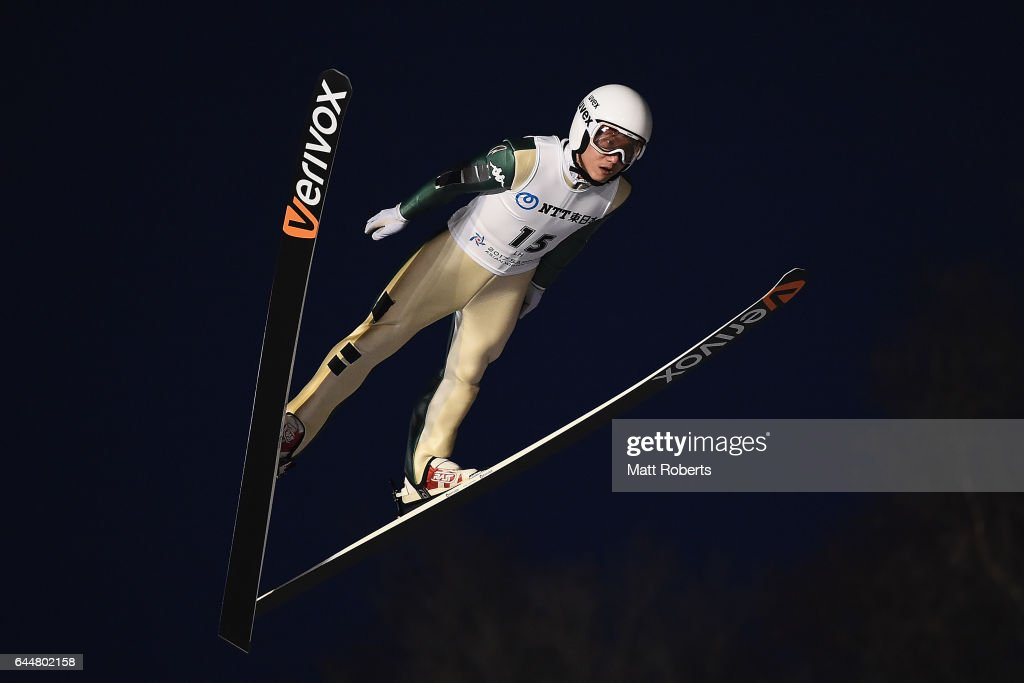 Seou Choi of Korea competes in the men's ski jumping large hill individual on day seven of the 2017 Sapporo Asian Winter Games at Okurayama Ski Jump Stadium on February 24, 2017 in Sapporo, Japan.