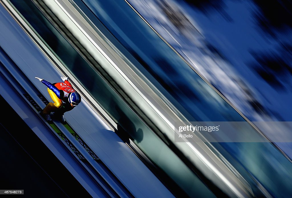 Seou Choi of South Korea skis during the Men's Normal Hill Individual training ahead of the Sochi 2014 Winter Olympics at the RusSki Gorki Ski Jumping Center on February 7, 2014 in Sochi, .