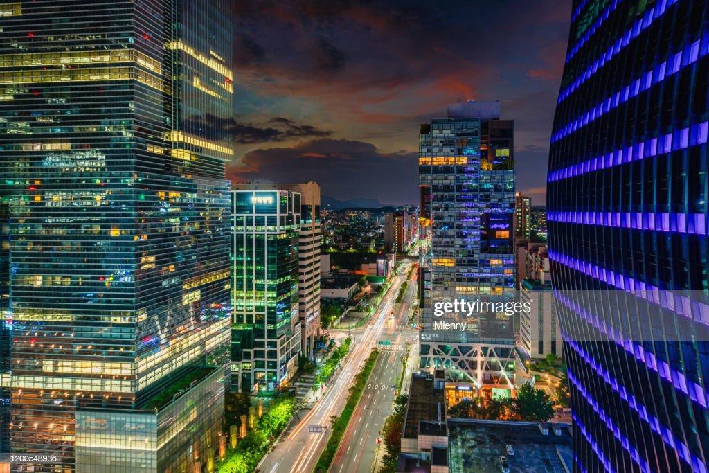 Seoul at Night Gangnam District Urban City Road South Korea : Stock Photo