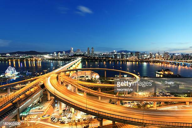 seoul at twilight - seoul stock pictures, royalty-free photos & images