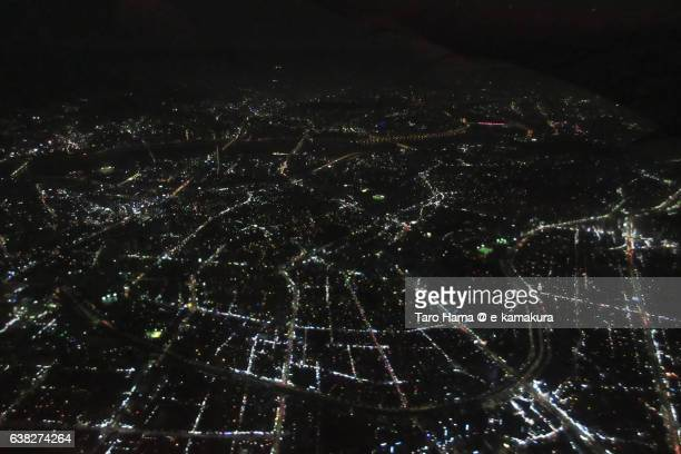 Seoul city aerial night view from airplane