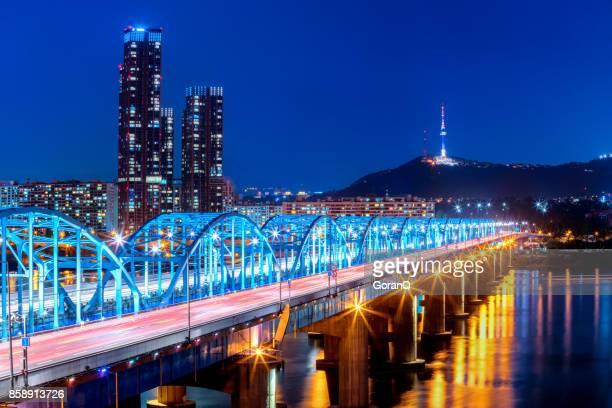 Seoul City skyline at Dongjak Bridge and Han river in Seoul, South Korea.