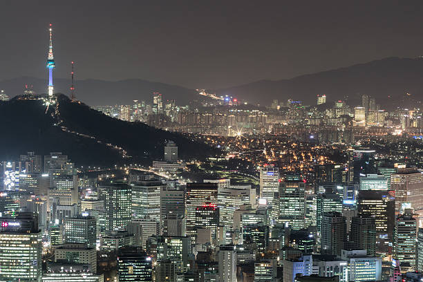 Seoul City Skyline At Night Overview Wall Art