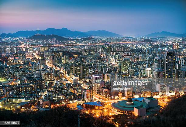 seoul cityscape at dusk - seoul stock pictures, royalty-free photos & images