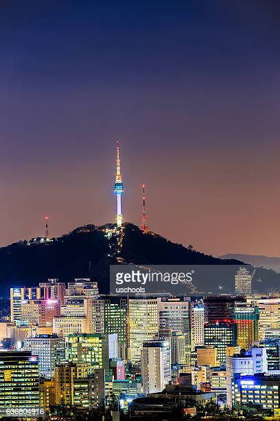 seoul cityscape at night - letter n stock pictures, royalty-free photos & images