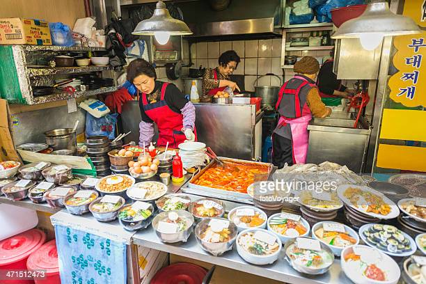 Seoul cooking lunches at food stall in Namdaemun Market Korea