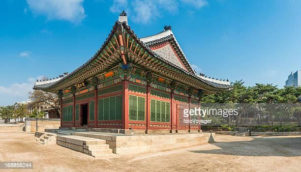Seoul Deoksugung traditional colourful painted wooden pagoda Korea