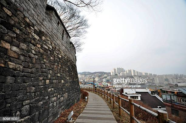 Seoul fortress and cityscape.