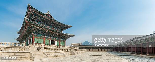 seoul gyeongbokgung ornate traditional architecture panorama korea - seoul stock pictures, royalty-free photos & images