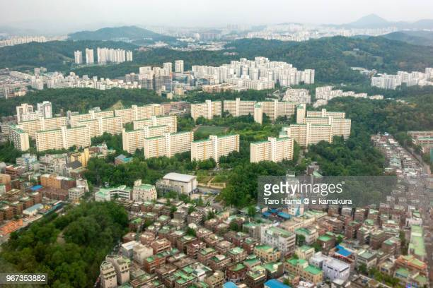 Seoul in South Korea daytime aerial view from airplane