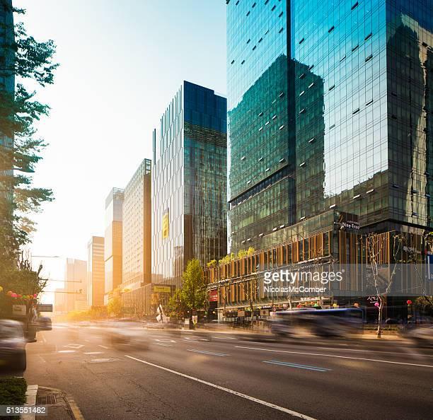Séoul Jong-ro rue au coucher de soleil