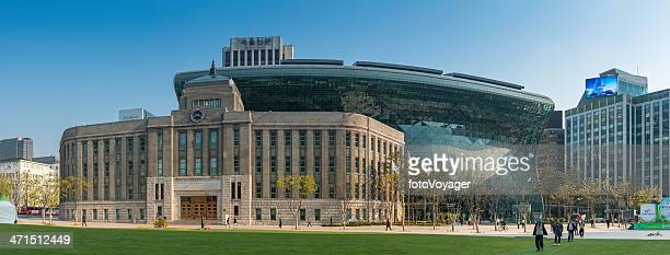 seoul plaza city hall panoramic cityscape south korea - seoul province stock pictures, royalty-free photos & images