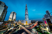 Seoul Songpagu Cityscape Skyscraper Lotte World Tower at Night