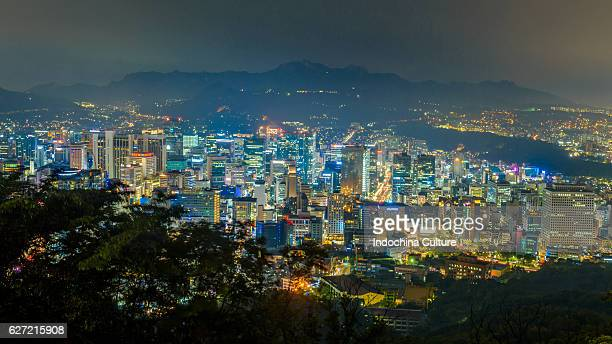 Seoul, South Korea city skyline at night, view from N Seoul Tower