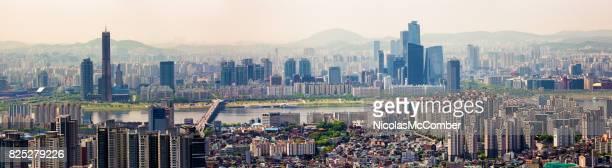 Seoul South Korea Skyline panoramic view Han River and Yeoeuido-dong area