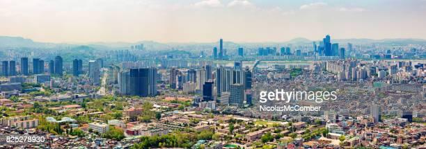 Seoul South Korea Skyline wide panoramic view Han River and Yeoeuido-dong area
