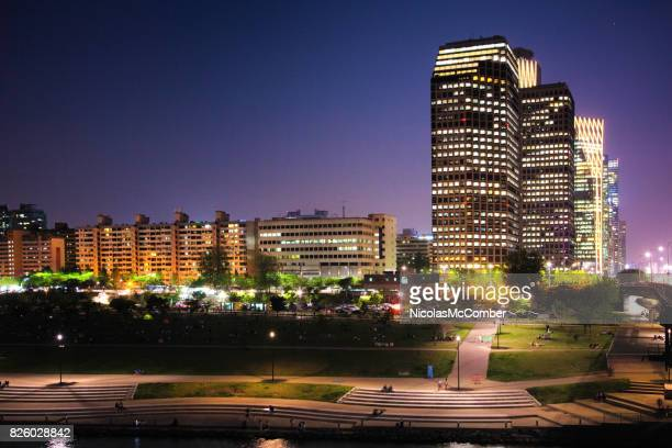 Seoul South Korea Skyline Yeoeuido-dong area at twilight with Han River boardwalk