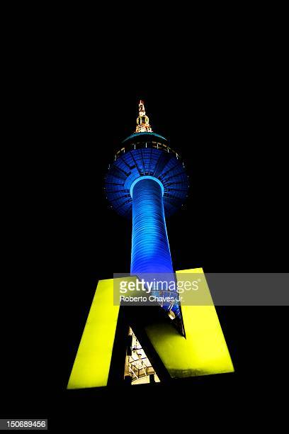 n seoul tower - letter n stock pictures, royalty-free photos & images