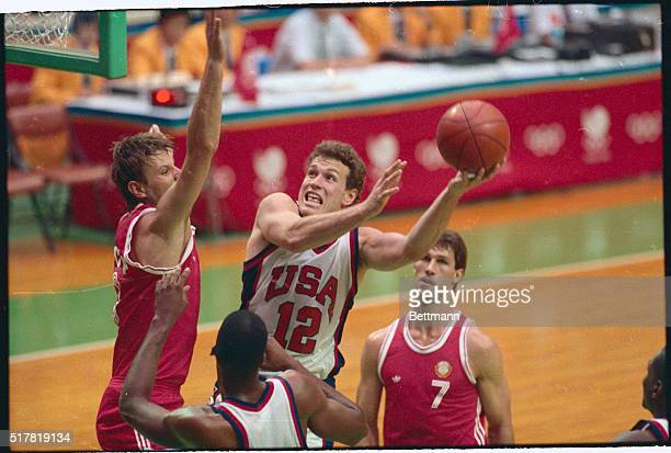 Seoul: USA's Daniel Majerle goes for the basket against Soviet Union's Arvidas-Romas Sabonis during first half action at the Olympics Sept. 28.