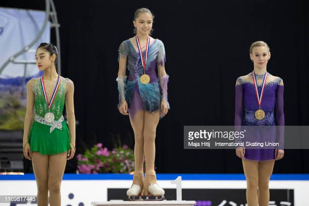 Seoyeong Wi of Korea Kamila Valieva and Maiia Khromykh of Russia pose during a medal ceremony after Junior Ladies Free Skating during the ISU Junior...
