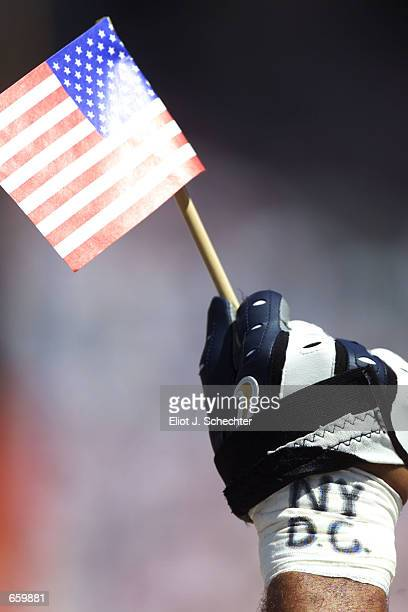 Jason Taylor of the Miami Dolphins holds a small American flag during the game against the Oakland Raiders at Pro Player Stadium in Miami Florida...