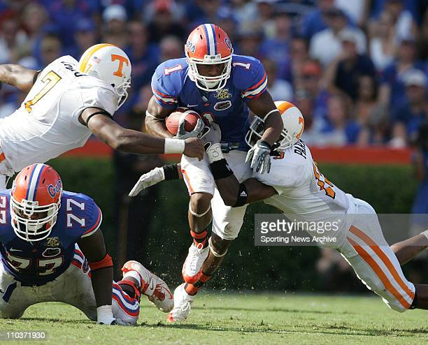 Sep 15 2007 Gainesville FL USA The Tennessee Volunteers JAROD PARRISH and JEROD MAYO against PERCY HARVIN of the Florida Gators at Ben Hill Griffin...