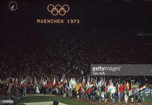 Closing Ceremony of the 1972 Olympic Games at the Olympic Stadium Munich West Germany Mandatory Credit Tony Duffy /Allsport